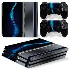 PS4 Pro Playstation 4 Console Skin Decal Sticker Blue Silver Metal Custom Design #ZoomHit