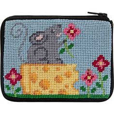 Donut Needlepoint Coin Purse Kit with Persian Wool