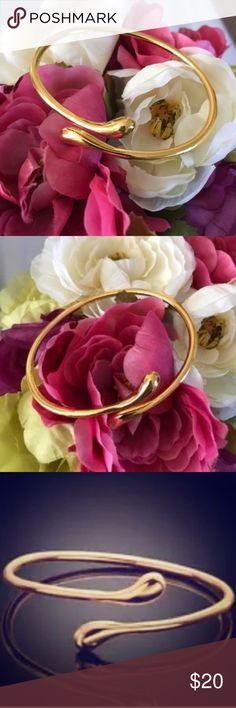 """Gold Tone Bangle Open Wrap Bracelet Gold Tone Bangle Open Wrap Bracelet. Sleek, elegant, and timeless. This piece looks lovely on its own or coupled with stacking pieces. I also have this in sterling silver.  Host Pick 11/18/17 Best In Gifts Party by...  @poshgram """"For it is in giving that we receive."""" — Francis of Assisi. Congratulations! I've chosen your item as a Host Pick for today's  """"Best in Gifts""""  party! Wishing you a speedy sale  Jewelry Bracelets"""