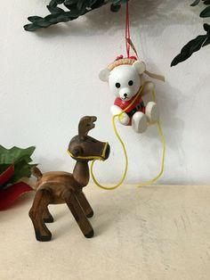 Vintage R. Dakin & Co. Wood Bear Holding Reindeer 1982 #Christmas