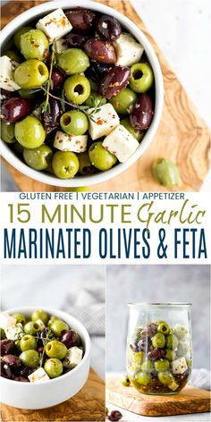 3 Easy & Elegant Holiday Appetizers That Only Take 15 Minutes! 3 Easy 15 Minute Holiday Appetizers that come together in minutes – Garlic Marinated Olives & Fet Appetizers For A Crowd, Thanksgiving Appetizers, Easy Appetizer Recipes, Holiday Appetizers, Holiday Recipes, Party Appetizers, Thanksgiving Recipes, Quick And Easy Appetizers, Christmas Recipes