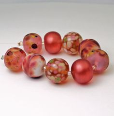 SRA Lampwork Glass Bead Set Pink Peach  by StoneDesignsbySheila, $40.00