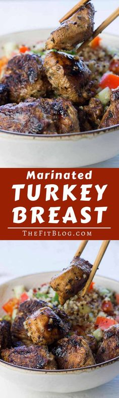 This marinated turkey breast has to be one of my favorite recipes for a quick, healthy meal. It combines maximum flavor with minimum work in the kitchen. | high protein | low carb | sugar free | gluten free | diabetes friendly | Paleo | via @TheFitBlog