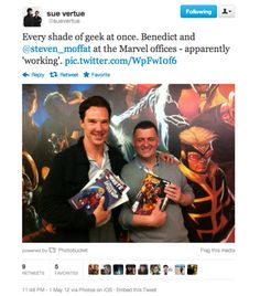 Moffat and Cumberbatch and Marvel?!?!   Well... *Sigh* at least they read comics :P <WORKING? IF SO PLEASE BE WORKING ON A MARVEL MOVIE. AHAHA. Too much wishful thinking?