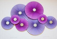 Paper Rosettes  Paper Pinwheels  Paper Fans  Purple by PoshSoiree