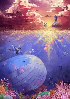 Stunning Pokemon Artwork - Lapras #pokemon #lapras #art #pokemonartwork #whale #underwater