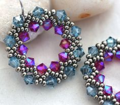 Dusky Blue and Pink Crystal HalfWreath Earrings by LainaLacy