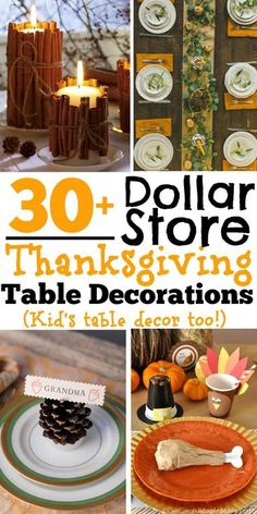 DIY Dollar Store Thanksgiving Table Decorations (Kid's table decor too!) You can easily find inexpensive Thanksgiving decorations at the dollar store, Target's One Spot or by using items that you already have lying around your home. There are also tons of Thanksgiving Table Settings, Thanksgiving Centerpieces, Thanksgiving Parties, Thanksgiving Ideas, Decorating For Thanksgiving, Fall Table Decorations, Friendsgiving Ideas, Hosting Thanksgiving, Holiday Decorations Thanksgiving