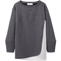Chalayan Grey Line Bi Color Sweat Top ($146) ❤ liked on Polyvore featuring tops, hoodies, sweatshirts, sweaters, shirts, charcoal shirt, boat neck tops, boat neck sweatshirt, boatneck top and loose fitting shirts