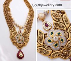 22 carat gold broad antique finish two step bridal necklace from Kalyan Jewellers studded with diamonds, rubies, emeralds and south sea pearls. Indian Jewelry Sets, Indian Wedding Jewelry, Bridal Jewelry, Bridal Necklace, Gold Necklace, India Jewelry, Stone Necklace, Antique Necklace, Antique Jewelry
