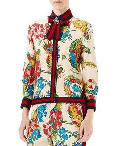 GUCCI Women'S Corsage Print Silk Brooch Shirt In Ivory