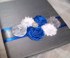 WEDDING GUEST BOOK with Photo Spot  Royal blue Slate by itsmyday, $58.00