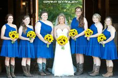 Bridesmaids with sunflowers.  Bridesmaids dresses purchased from DaisyBridalHouse on etsy