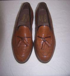 Footjoy Classics Vintage Genuine Exotic Lizard Shoes 7.5 D Brown Classic Loafer #Footjoy #LoafersSlipOns