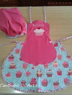01 Avental infantil (aplica��o de um motivo e nome)  01 chap�u chef de cozinha infantil.  Tamanho a combinar  As cores podem variar conforme a disponibilidade dos tecidos.