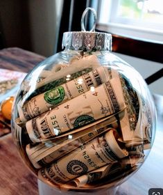 Easy DIY Christmas Ornaments That Look Store Bought - Twins Dish Easy DIY Money Christmas Ornament c Christmas Ornament Crafts, Christmas Holidays, Christmas Bulbs, Christmas Crafts, Diy Ornaments, Christmas Ideas, Christmas Decorations Diy For Teens, Handmade Christmas, Homemade Christmas Gifts