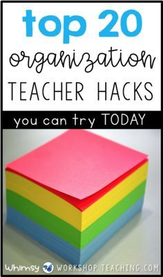 Read 20 teacher tips, ideas and hacks to keep your classroom organized! These are simple ideas you can try today to organize your classroom.