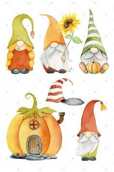 Gnome Pictures, Gnome Images, Clipart, Gnome Paint, Girl Gnome, Fall Crafts, Holiday Crafts, Thanksgiving Art, Elves And Fairies
