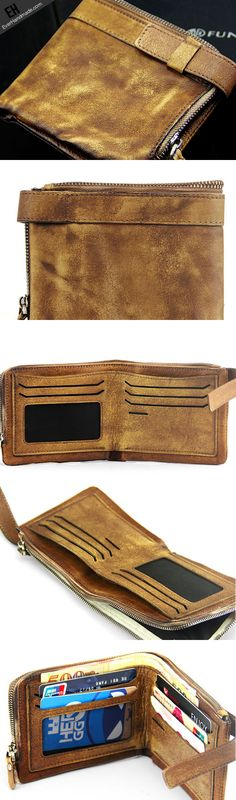 Handmade men short leather wallet men vintage brown short wallet for him