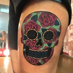 Sugar skull tattoo I made a few days ago at @gritnglory  For tattoo appointments email tattoo@meganmassacre.com, I'm now booking January 2017! ✨