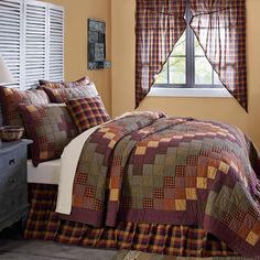 The Heritage Farms Quilts are decorated with cascading blocks of various crimsons, mustards, and black for a visually mesmerizing and enticing look. The cascading blocks are then beautifully framed by thick channel bordering. Be sure to add shams and a bed skirt for a unified look, and don't forget the coordinating pillow, and drapes for the windows.100% Cotton Shell and FillMachine Stitched, Hand QuiltedMachine WashableCan Not Express ShipShipping: 5-7 Business Days