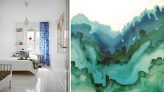 Gorgeous watercoloring paintings paired with the color themes in different rooms.