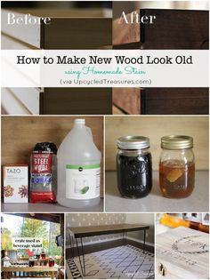 How to Make New Wood Look Old. Create your own homemade stain using products you likely already have on had to make new wood appear aged and weathered. {upcycledtreasures.com} #DIY #stain