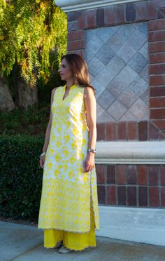 Yellow and white suit - with applique work and palazzo pants