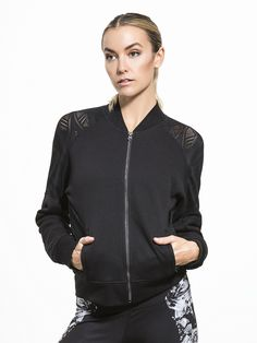 Tempt yourself with something stylish, and sleek enough to pair with anything in your closet. This jacket from Alo Yoga has engineered mesh shoulder and arm panels that ventilate while adding a little bit of flair to this slim fit pre or post-workout jack