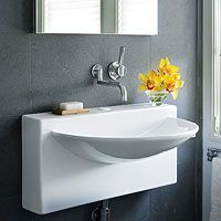 When there& only a wee bit of space for washing up, whet your thirst for style that fits with one of these space-saving solutions for a small bathroom sink. Small Bathroom Sinks, Small Sink, Bathroom Basin, Bathroom Fixtures, Master Bathroom, Bathroom Ideas, Basement Bathroom, Downstairs Toilet, Bathroom Grey
