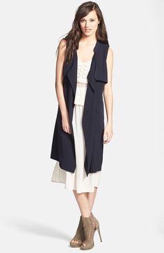 totally obsessed with this navy drape front sleeveless trench vest {40% now during Nordstrom's Half Yearly Sale!!}