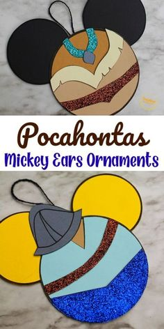 Try out this Pocahontas Mickey Ears Ornament Craft from Sunshine Whispers! This ornament craft is perfect for little Disney-lovers. Your kids will love hanging this creative ornament on the Christmas tree! | Disney Crafts for Kids #christmas #ornament #christmasornament #diyornaments #disneycrafts #disney
