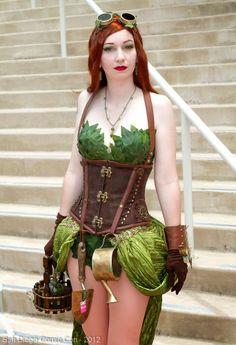 Steampunk Poison Ivy Cosplay  (cosplay goggles corset skirt gloves cuffs batman)