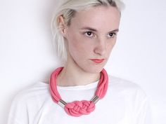 Bold Necklace in pink with carrick bend and chrome by ChezKristel