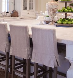 Custom sewn slipcover barstool chairs Contact your local retailer or designer for pricing
