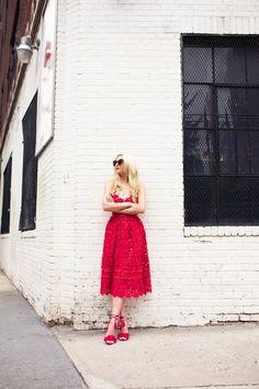 BLAIR EADIE red lace dress