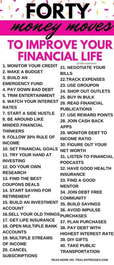 40 Money Moves To Improve Your Financial Life - Trials N Tresses - Finance tips, saving money, budgeting planner Ways To Save Money, Money Tips, Money Saving Tips, Money Budget, Money Plan, Managing Money, Financial Peace, Financial Tips, Financial Planning