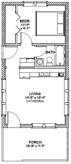16x30 Tiny House -- #16X30H13A -- 480 sq ft - Excellent Floor Plans