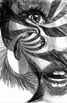 Facial Expressions Artist Rafael Salazar  Digital Art  Sketch in Black and White with Geometric touch over her face by #Rafael Salazar #Artist from #Colombia