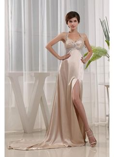 Low Back Halter Side Split Champagne Prom Dress£119