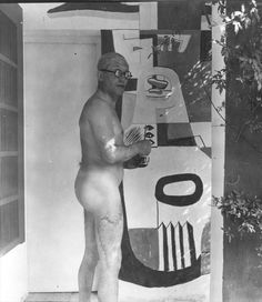Le Corbusier painting a mural at Eileen Gray's E1027 House (1939)