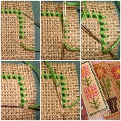 Types Of Embroidery, Embroidery Applique, Embroidery Stitches, Cross Stitch Boarders, Cross Stitching, Smocks, Swedish Weaving, Burlap Table Runners, Burlap Flowers