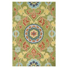 Add an elegant touch to your dining room or den with this hand-tufted wool rug, showcasing a floral-inspired scrolling motif in a lime and multi palette.   ...