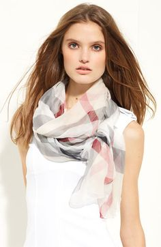 Burberry Check Print Silk Crepon Scarf available at #Nordstrom.
