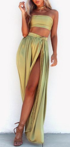 Pinterest: Heatonminded Bae, Different Styles, Green Outfits, Two Piece Skirt Set, Skirts, Personality, Color, Dresses, Fashion