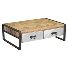 Handcrafted Reclaimed Wood And Metal Coffee Table   (16H X 41W X 24D)    Natural   Timbergirl