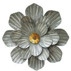 Galvanized Metal Flower Wall Plaque ($60) ❤ liked on Polyvore featuring home, home decor, wall art, spring home decor, metal home decor, metal wall plaques, blossom wall art and flower home decor