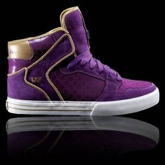 Purple and gold supra high tops