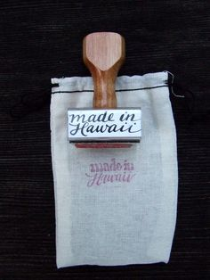 made in Hawaii stamp, Hand Lettered Handmade Calligraphy Stamp, Made in Your State Rubber Stamp