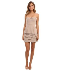 BCBGMAXAZRIA Strapless Layered Ruffle Dress